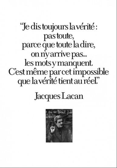 Jacques Lacan 'Je dis toujours la vérité (...)'